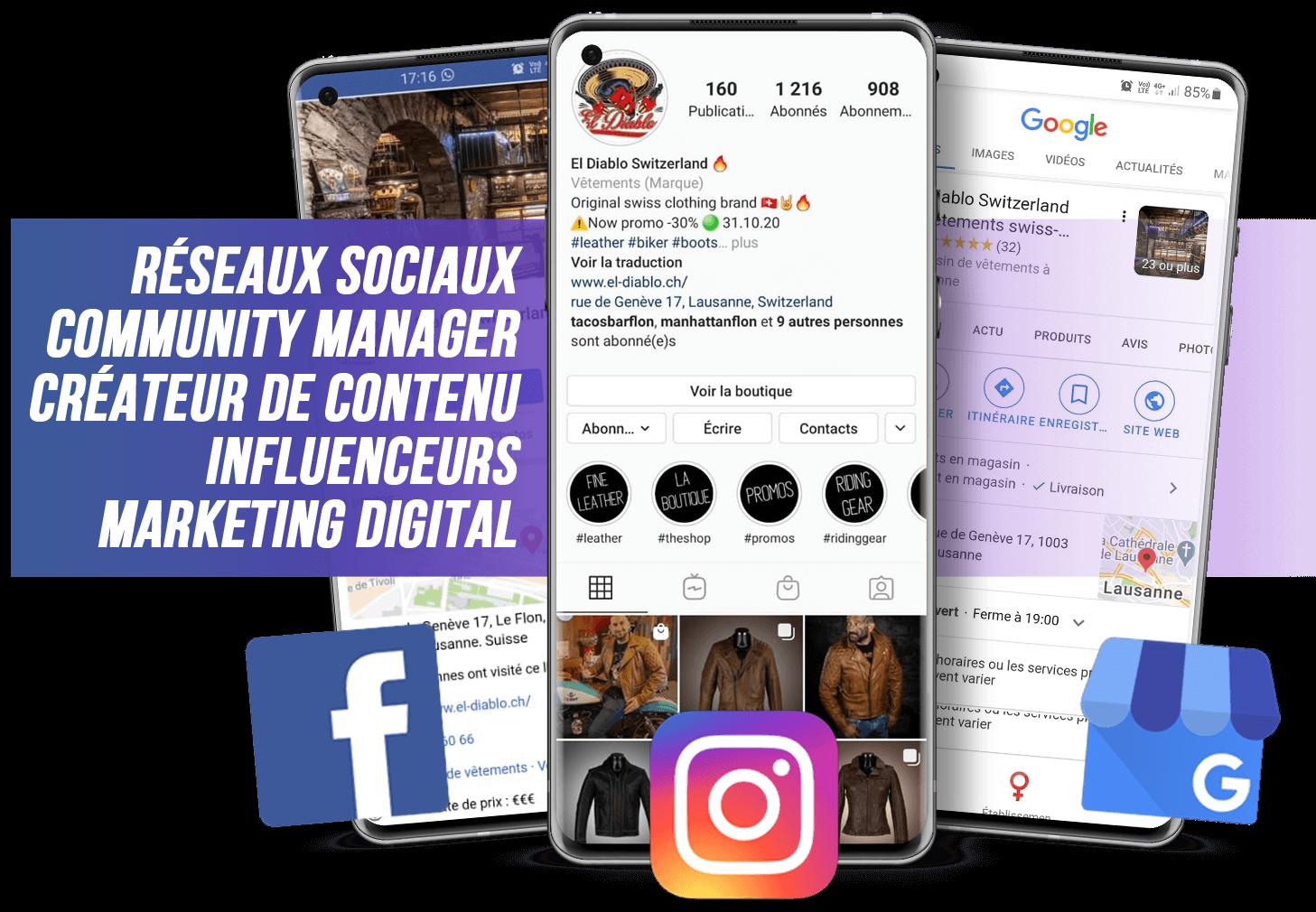 réseaux sociaux community manager instragram facebook